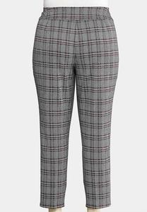 Plus Size Plaid Knit Pants