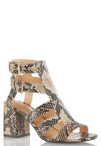 Caged Snakeskin Heeled Sandals