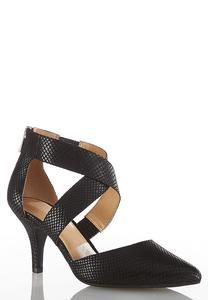 Snakeskin Crossband Pumps