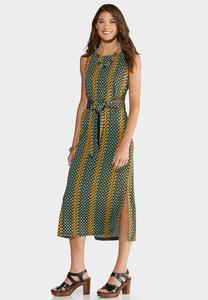 Geo Tie Waist Dress