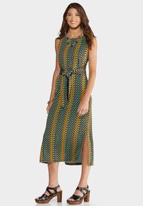 Plus Size Geo Tie Waist Dress