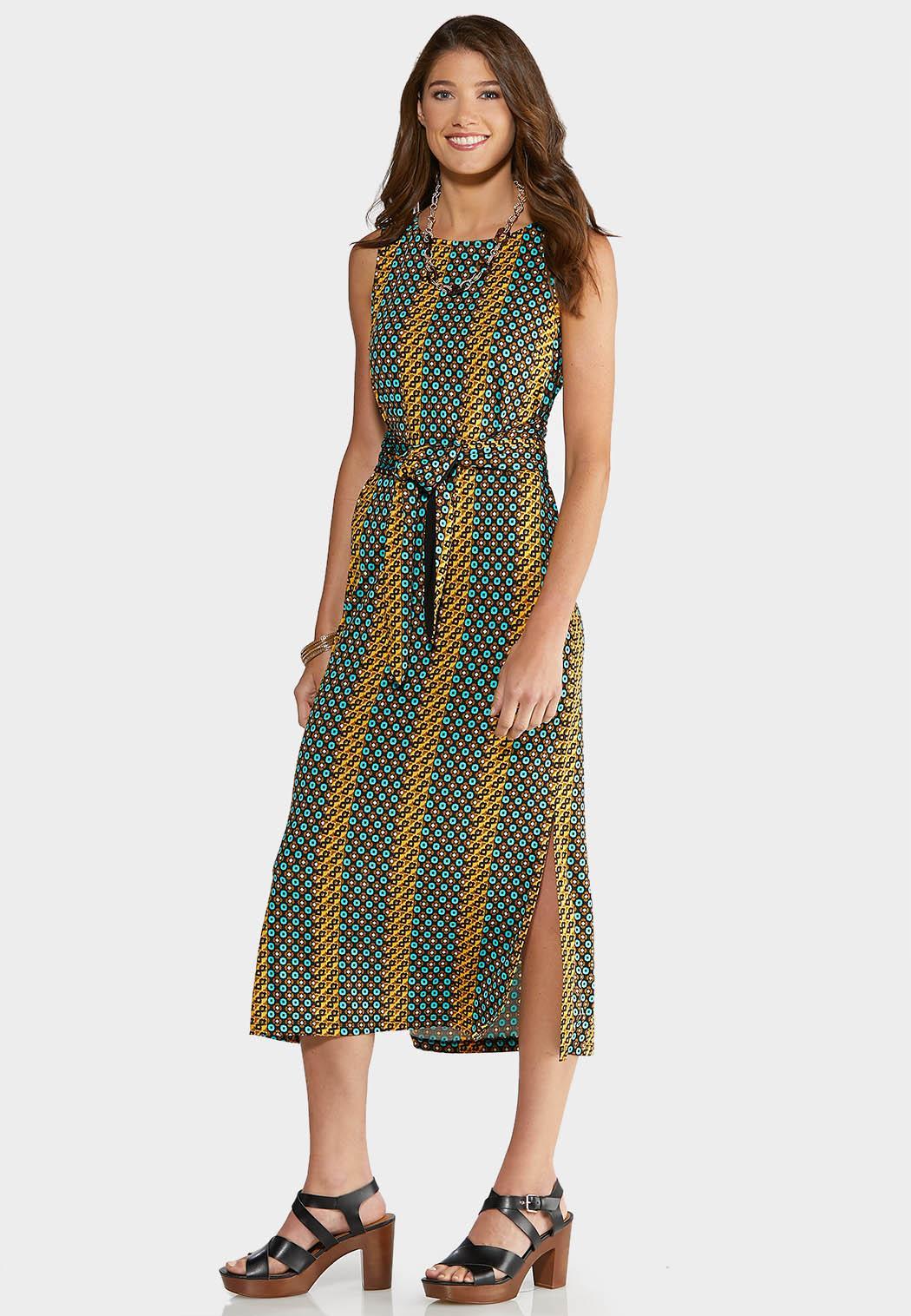 Plus Size Geo Tie Waist Dress Plus Sizes Cato Fashions