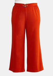 Plus Size Double Ring Belt Pants