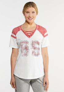 Plus Size Sporty Lattice V-Neck Tee