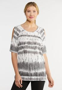 Plus Size Tie Dye Cold Shoulder Tee