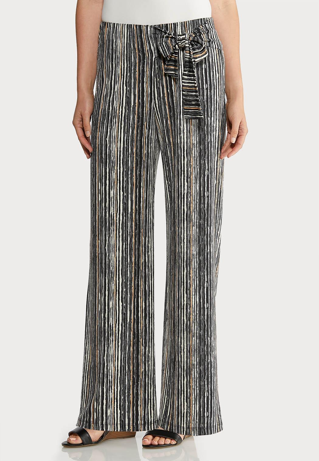 Petite Striped Bow Wide Leg Pants