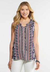 Plus Size Ruffled Neck  Tank