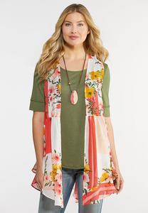 Plus Size Flounced Floral Vest