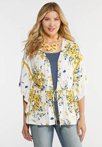 Yellow Ruffled Floral Cardigan