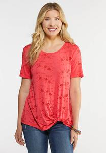 Eyelet Twist Front Tee