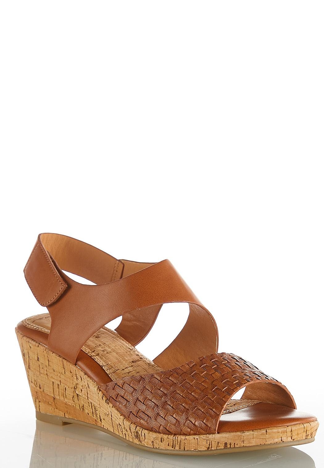 0f7d0828b7a Wide Width Woven Vamp Cork Wedges Heels Cato Fashions