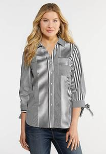 Plus Size Tie Sleeve Button Down Top