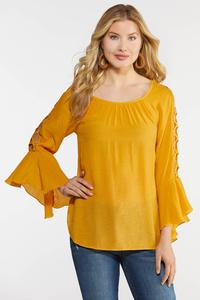 Lattice Bell Sleeve Top