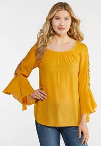 Plus Size Lattice Bell Sleeve Top