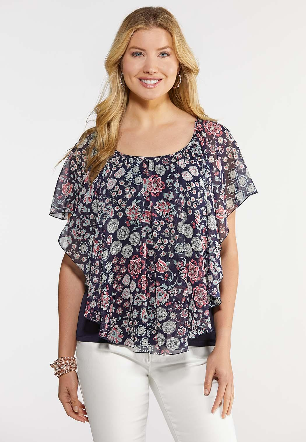 Floral and Paisley Capelet Top