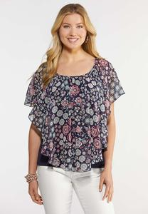 Plus Size Floral and Paisley Capelet Top
