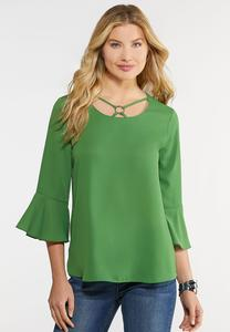 Plus Size Flutter Sleeve Hardware Top