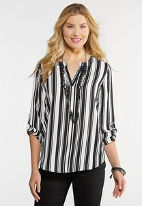 Plus Size Striped Popover Top
