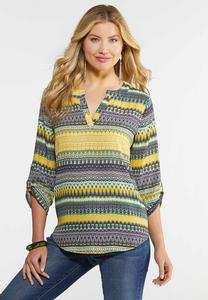 Plus Size Golden Aztec Top