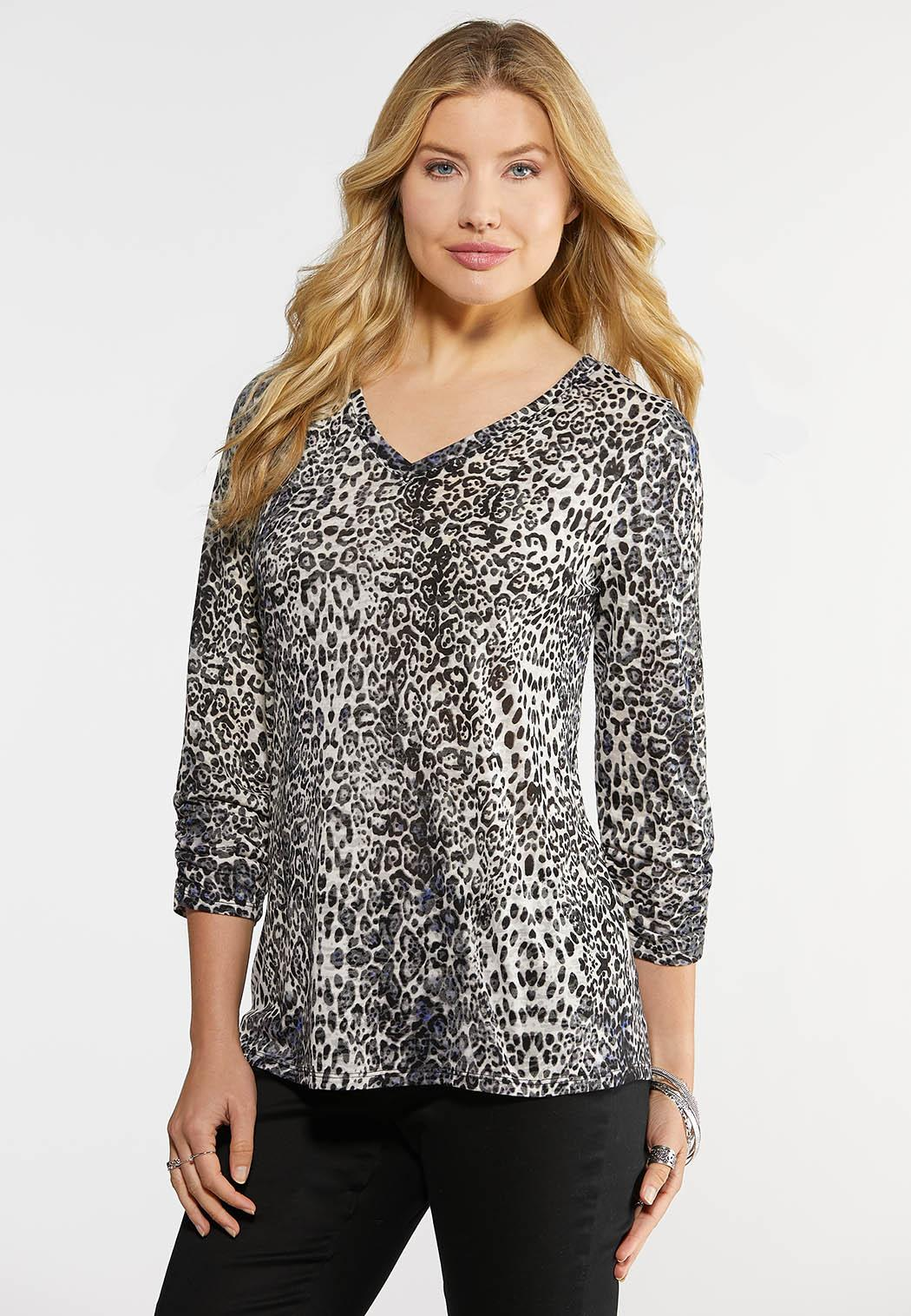 Plus Size Leopard Ruched Sleeve Top