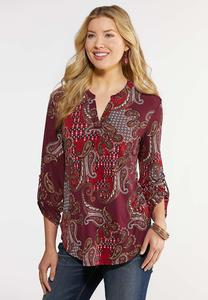 Plus Size Rolled Sleeve Paisley Top