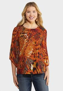 Plus Size Animal Bell Sleeve Top