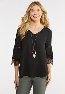 Plus Size Solid Lace Trim Top