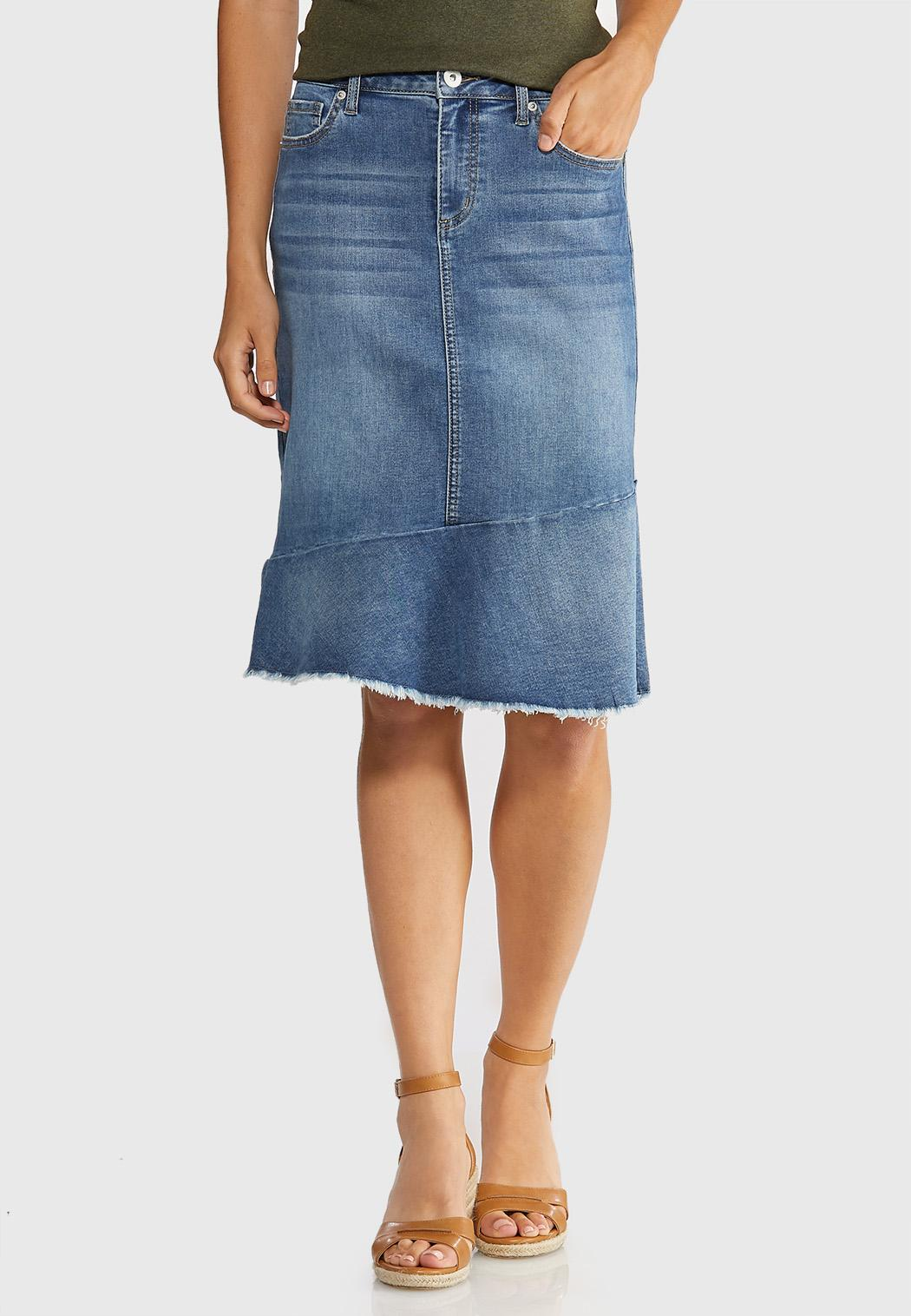 Plus Size Fringed Denim Skirt