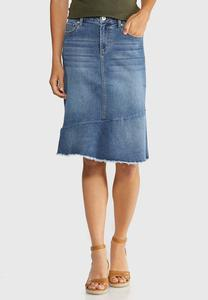 Plus Size Fringed Denim Skirt