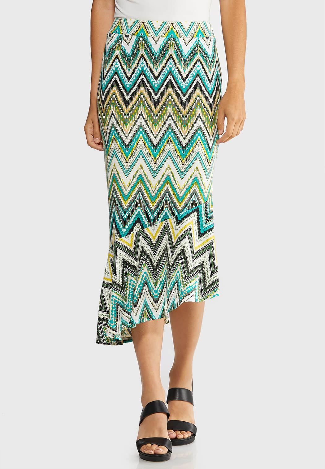 Plus Size Asymmetrical Chevron Skirt