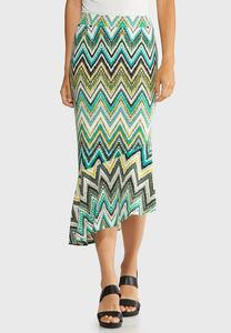 Plus Size Asymmetrical Chevron Skirt