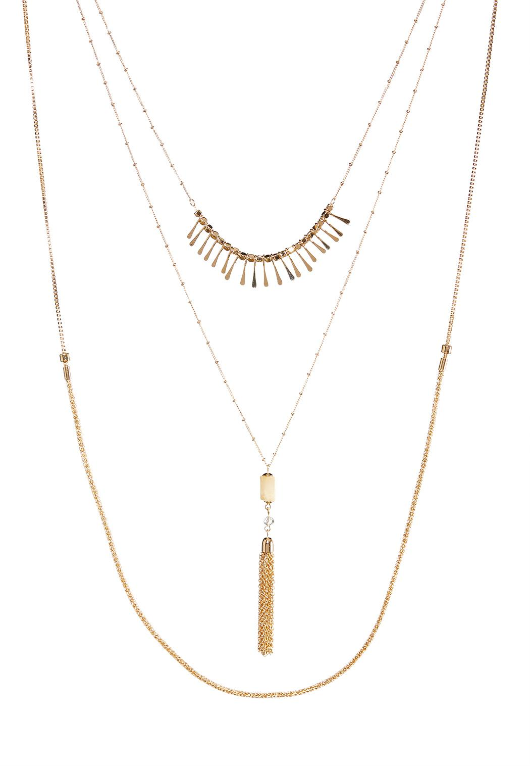 Triple Layered Tassel Necklace