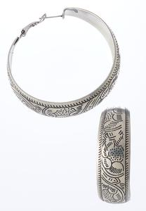 Etched Antique Silver Hoops