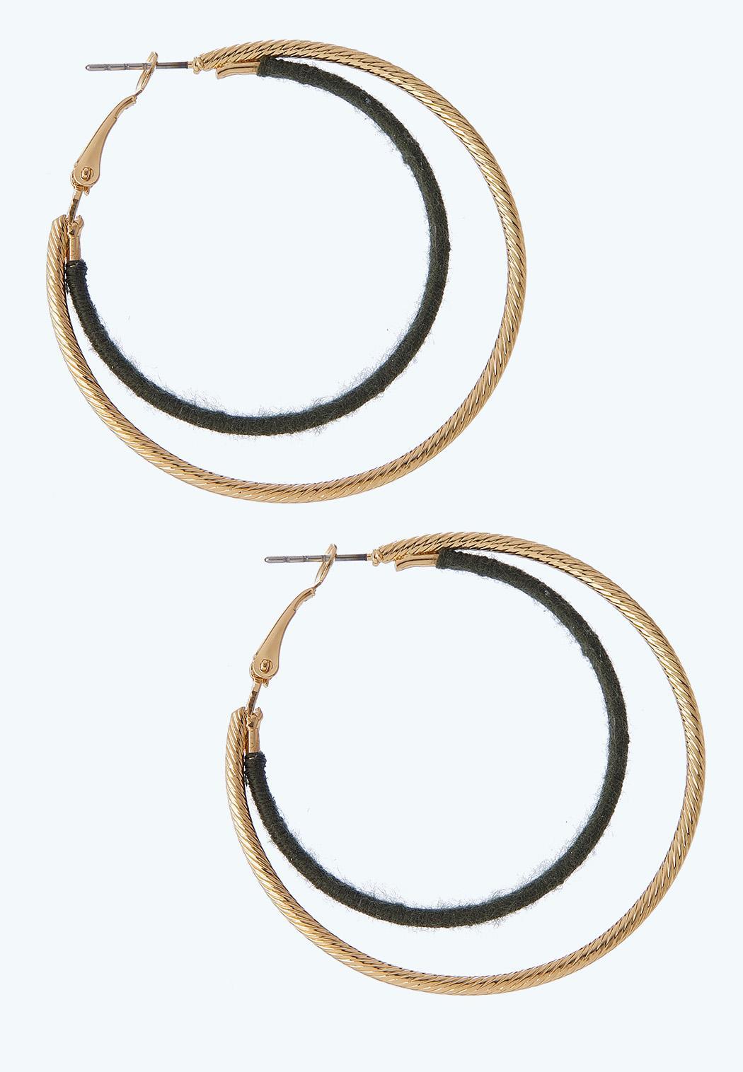 Two-Toned Wrapped Hoop Earrings