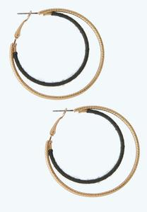 Two-Toned Wrapped Hoop Earrings