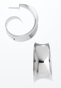 Curled Silver Hoop Earrings