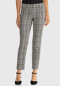 Slim Ankle Plaid Pants