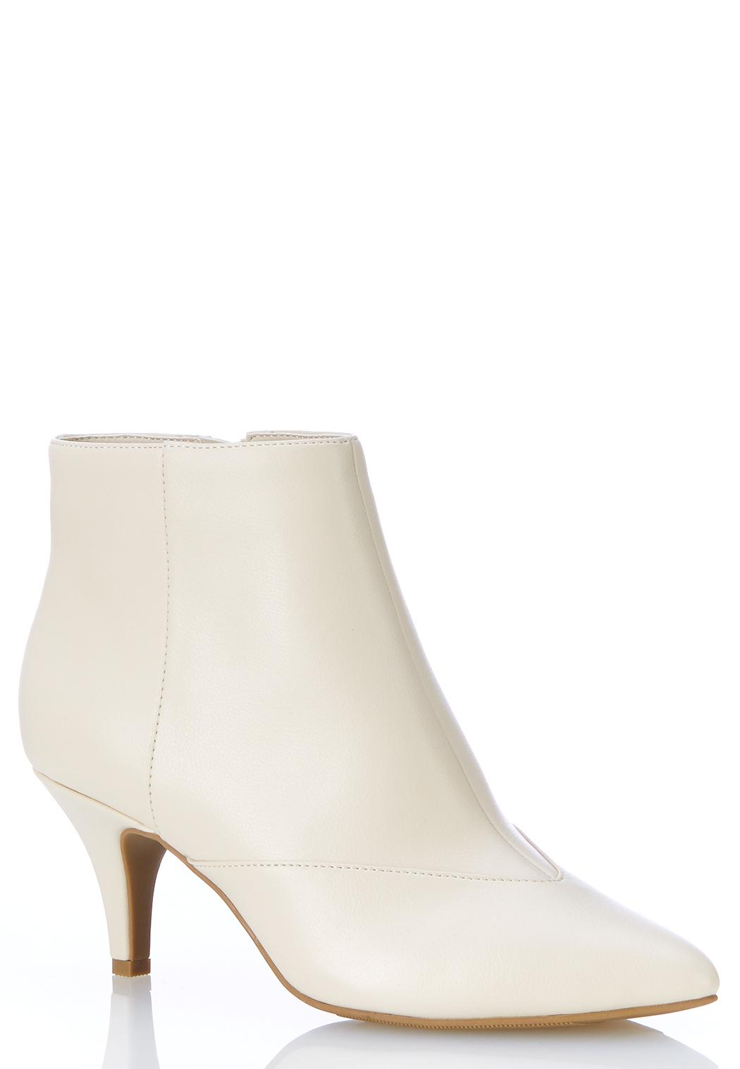 Faux Leather Pointy Toe Booties