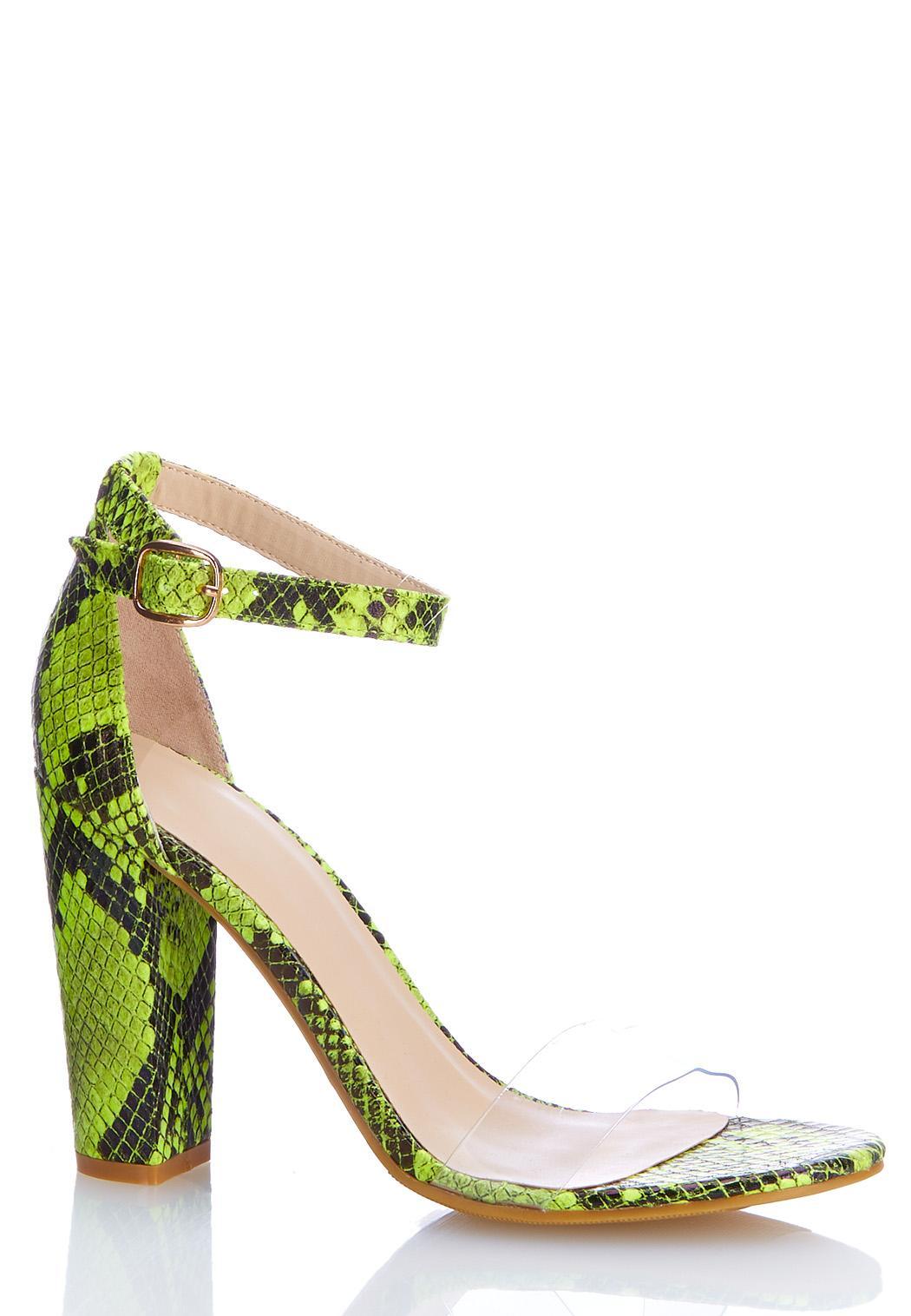 Lucite Strap Snakeskin Heeled Sandals