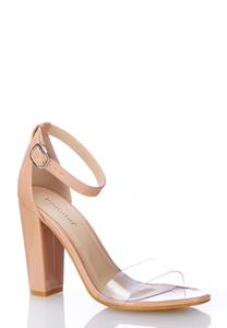 Lucite Strap Patent Heeled Sandals