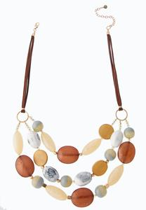 Beaded Suede Cord Swag Necklace