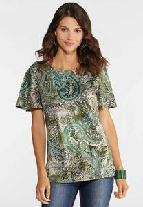 Plus Size Green Mixed Print Top