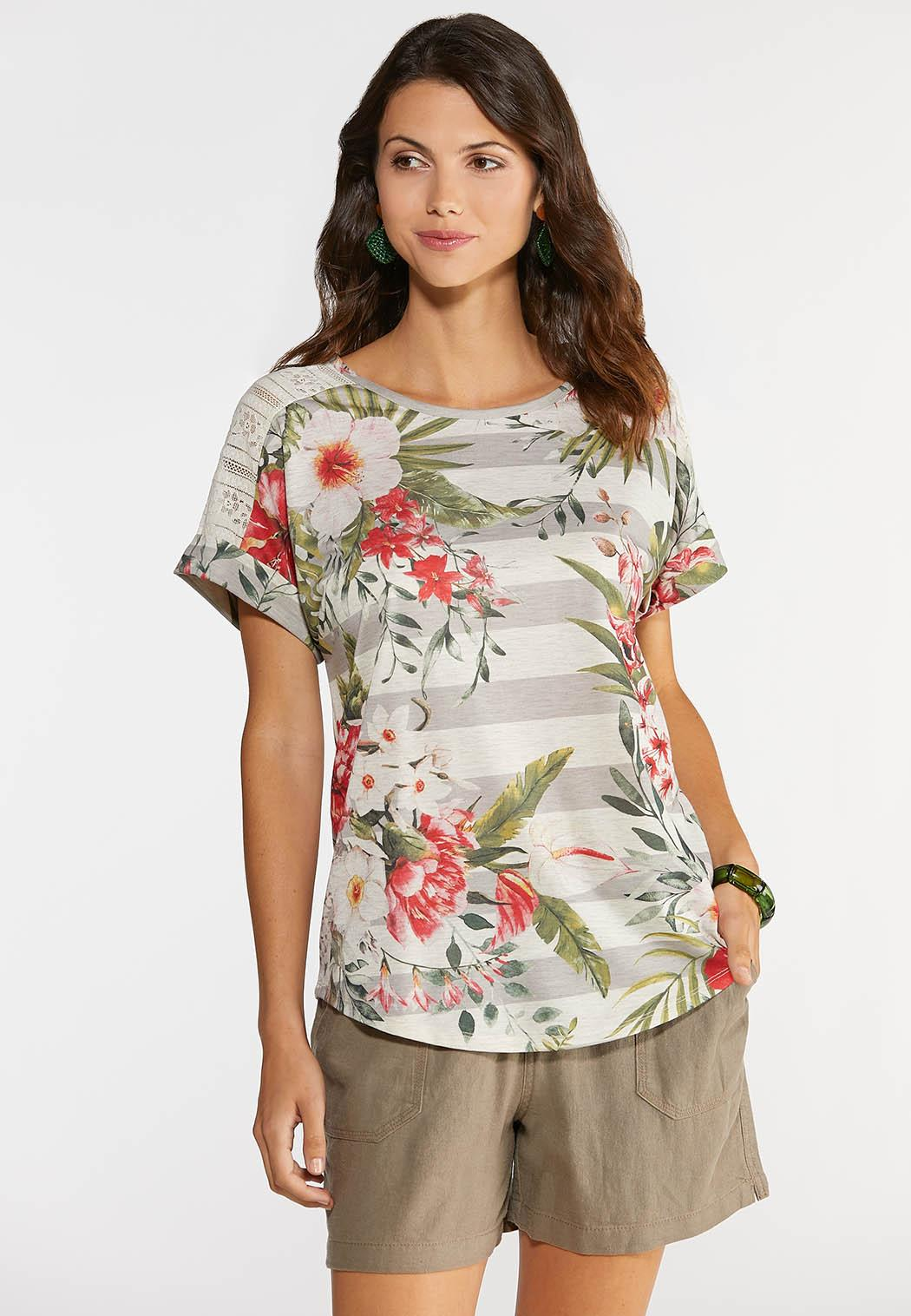 Plus Size Tropical Lace Sleeve Tee