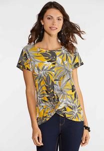 Plus Size Twisted Gold Leaf Top