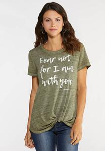 Plus Size Fear Not Twist Hem Tee