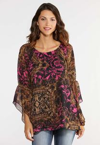 Plus Size Flutter Sleeve Poet Top