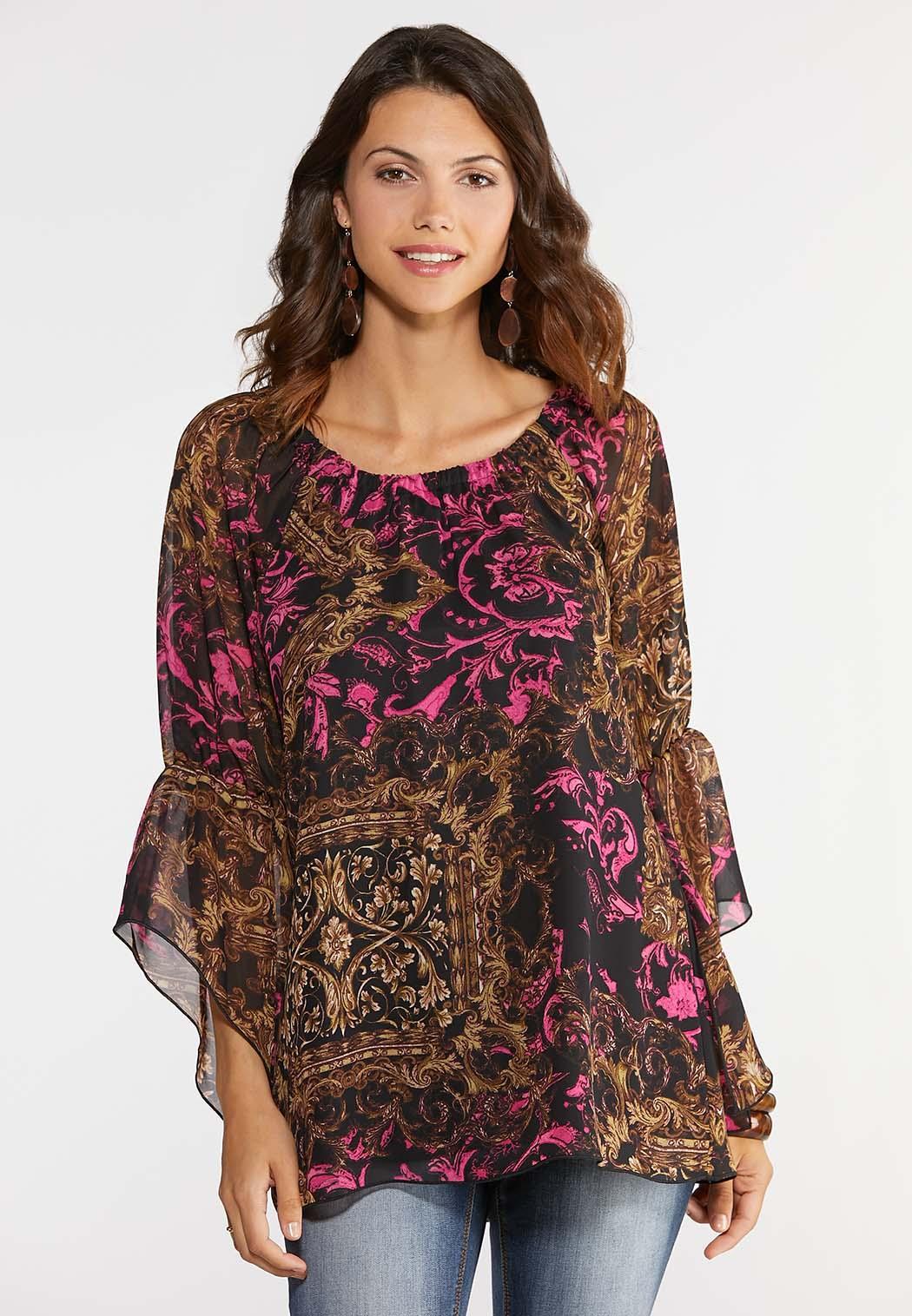 5634d374da76da Plus Size Flutter Sleeve Poet Top Shirts & Blouses Cato Fashions