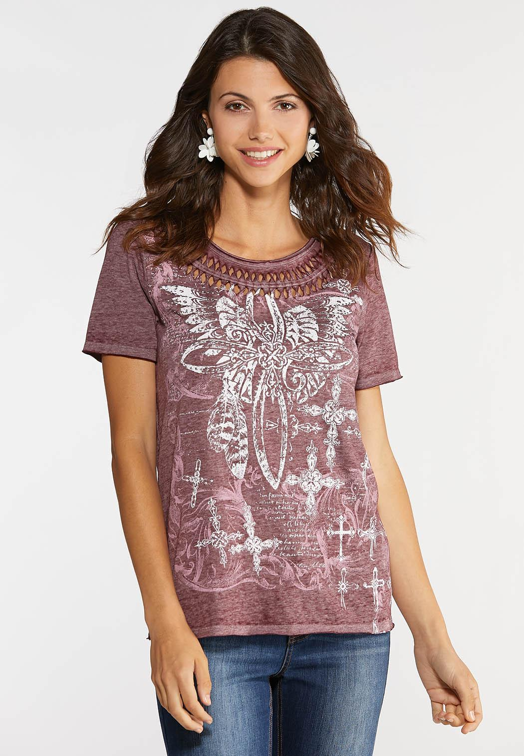 Plus Size Caged Cross Tee
