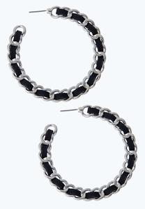 Thread Chain Hoop Earrings