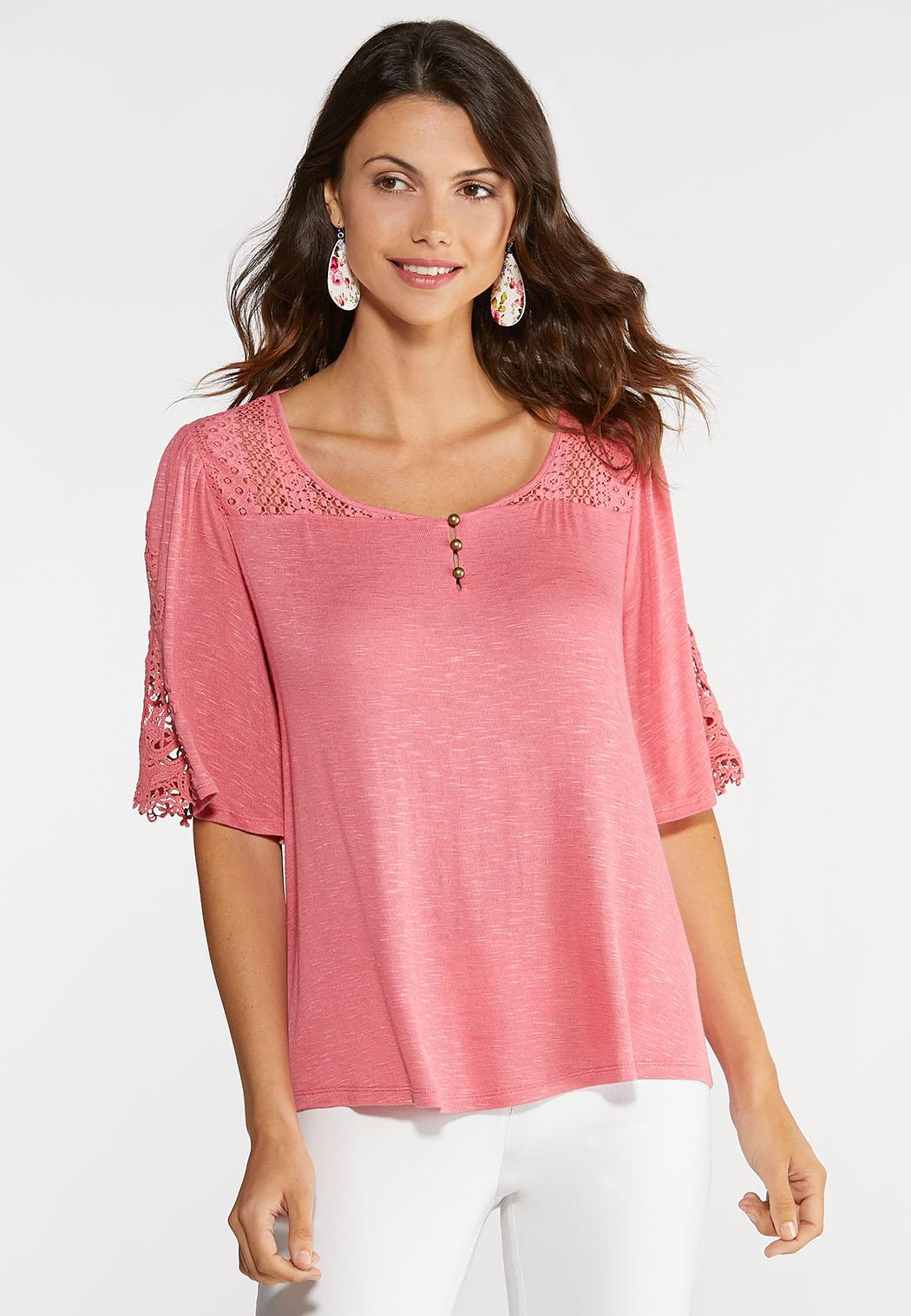 Plus Size Lacy Bell Sleeve Top
